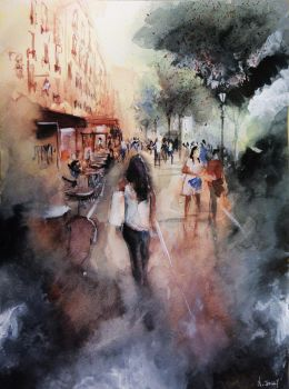 Promenade rue Saint-Martin - Paris - Watercolor by nicolasjolly