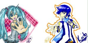 miku and kaito-iscribble- by RetroTrickster