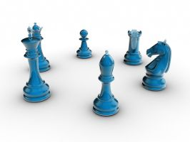 Blue 3D Glass Chess Set by Lyle-the-Hobo