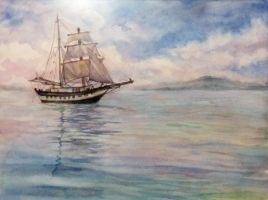 just a ship in the sea by Cher-Ro