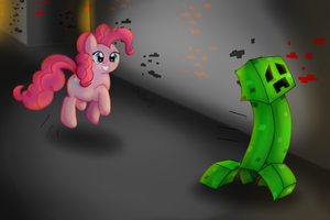 Wanna be Friends? (Pinkie Pie meets a Creeper) by vcm1824