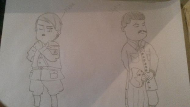 Chibi Hitler and Stalin by issystuif