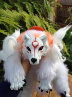 SOLD Okami Amaterasu handmade softbodied doll by CreaturesofNat