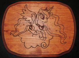 Princess Luna Sitting on a Cloud - Wood Burning by rekibob