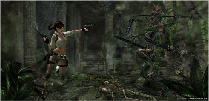 Lara vs Statues by ReD8ull