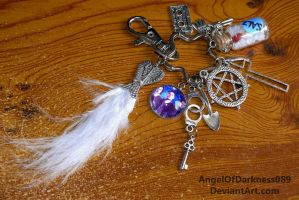 Supernatural Keychain with white feather by AngelOfDarkness089