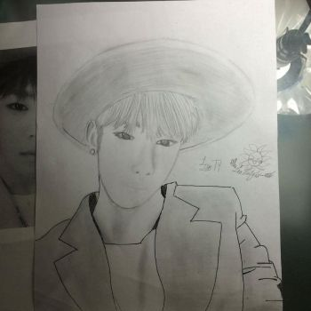 Daehyun from B.A.P sketch by luckyluckyclover77