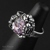 Engagement ring, wrapped, Swarovski Violet, IV by AnnaMroczek