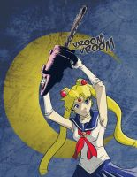 Sailor Moon with a chainsaw by enemydownbelow