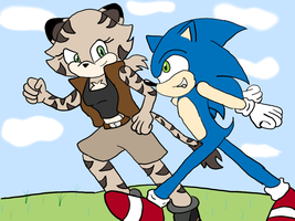 Lisa and Sonic by Krispina-The-Derp