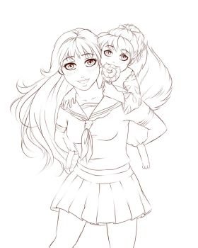 Sketch Kagome And Shippo by angie50