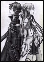 Asuna and Kirito by NirwAnia