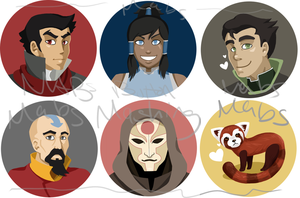 Legend of Korra Buttons by Tacotits