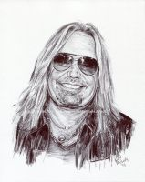 Vince Neil / Motley Crue - Pen and Ink Portrait by NateMichaels