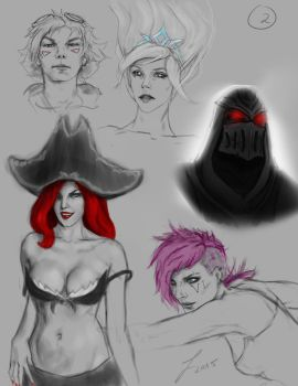 League of Legends sketches 2 by Lockdevil
