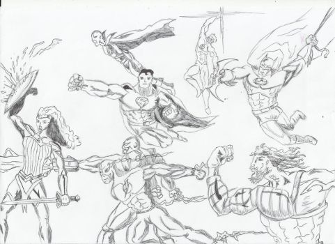 Justice league uncolored by ShadowManGMR