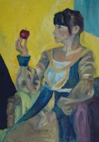 Lady..with an apple. by Alleria