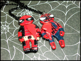 Spiderman/Deadpool BFF Necklace Set by GrandmaThunderpants