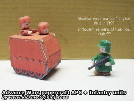 Papercraft Orange Star APC + Green Earth Infantry by ninjatoespapercraft