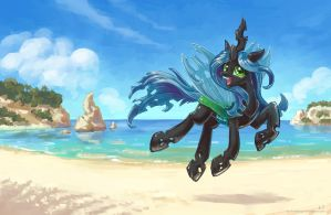 Chrysalis is still at the beach by KP-ShadowSquirrel