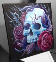 Skull and Roses 10x10 painting by DoomCMYK