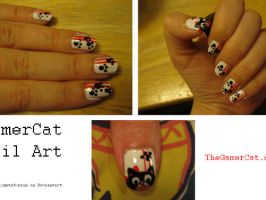 GamerCat Nail Art by Underestimated-Rain