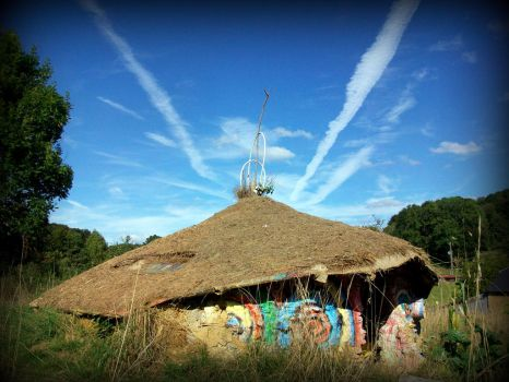 horn clouds over celtic roundhouse by gangahimalaya