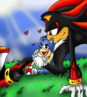 Shadow with little Sonic by Nei-Ning