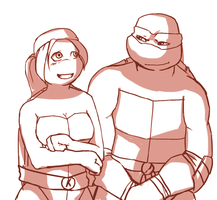 request 01-Katie and Raph. by Netrorev