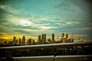 Singapore Skyline at Sunset by ahmad0410