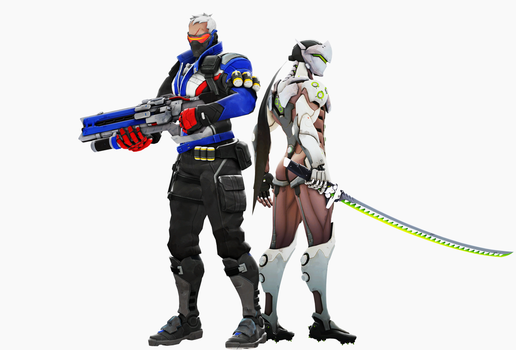 Genji and soldier 76 [overwatch] by Turbovilka