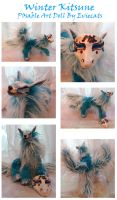 Winter Kitsune Posable Art Doll by Eviecats