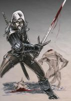 Geralt and werewolf by OFFO