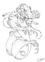 Mucha Mermaid sketch by chostopher