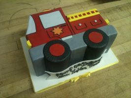 Firetruck Cut Out Cake by Spudnuts