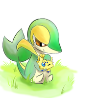 Snivy and Joltik by Joltik92
