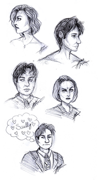 Scully+Mulder Sketch Dump by lynxqueen