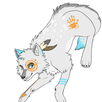 Commissioned Adoptable: Tribal Wolf by moothequackingcow