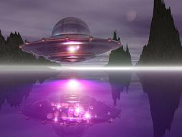 Saucer Over Water by SpazedOut