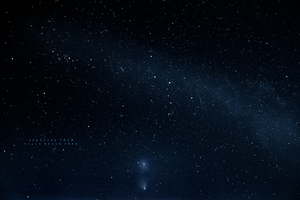 Milky Way, Andromeda-galaxy and PanSTARRS-comet by sed4tive
