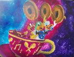 The Three Caaballeros in Tea Cup by billywallwork525