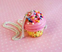 Polymer Clay Funfetti Cupcake Necklace by ScrumptiousDoodle