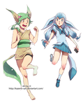 Leafeon the Energy and Glaceon the Listless by Kazeno-san