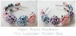 Paper Roses Headband - Pink, Lavender, Powder Blue by Feyon