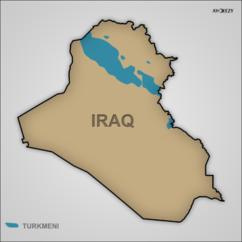 Map of Iraq with Turkic minorities by turkmennetwork