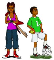Rock Girl and Soccer Boy by DPencilPusher
