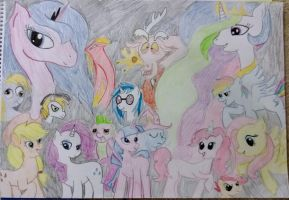 MAIN CHARACTERS- (OF COURSE) PONY STYLE!! by Shutter-To-The-Shock