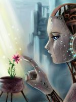 Robot girl and flover by Rilun