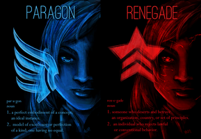 Mass Effect: Paragon or Renegade by FlockofFlamingos