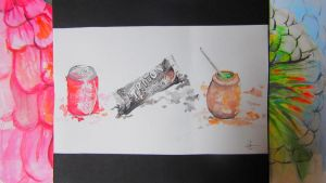 favorite food of my friends Talca watercolor by chinchillacosmica